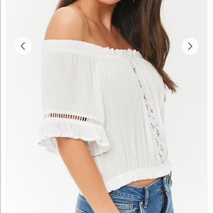 Tops - NWT Cut Out Lace Trim Ruffles Off the Shoulder Top